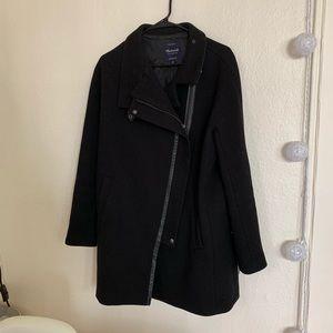 Madewell City Grid Wool Moto Coat Leather 10